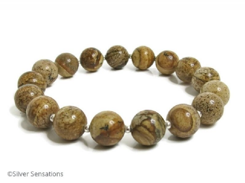 Brown Picture Jasper & Sterling Silver Unisex Beaded Bracelet